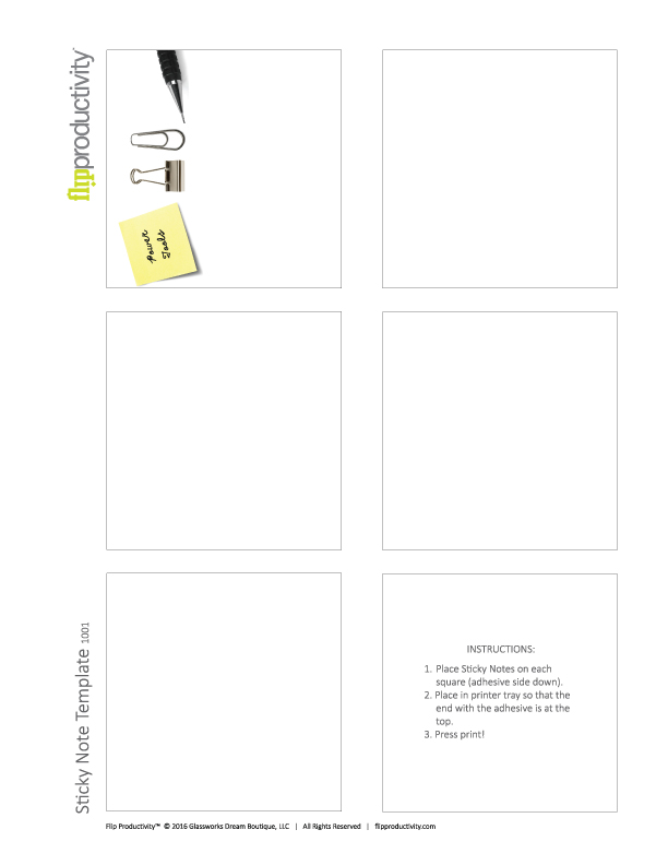 Sticky Note Template | Gwen Witherspoon